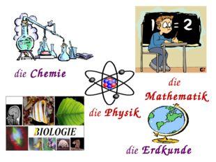 die Mathematik die Chemie die Erdkunde die Physik