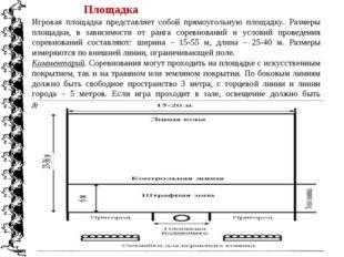 Игровая площадка представляет собой прямоугольную площадку. Размеры площадки,