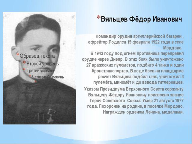Вяльцев Фёдор Иванович  командир орудия артиллерийской батареи , ефрейтор.Ро...