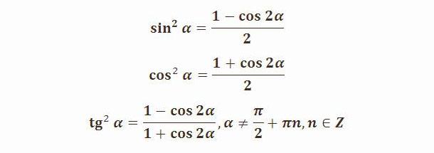 Формулы понижения степени для квадратов тригонометрических функций