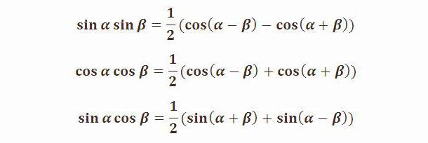 Преобразование произведения тригонометрических функций в сумму