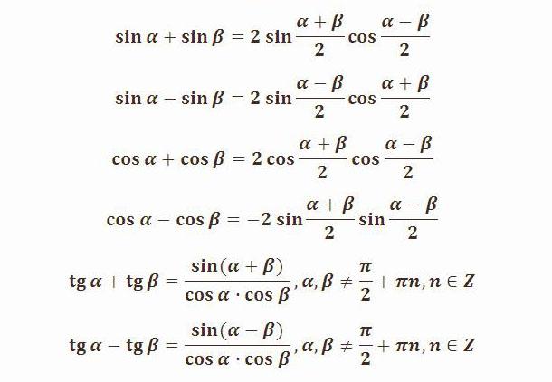 Преобразование суммы тригонометрических функций в произведение