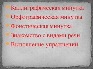 Каллиграфическая минутка Орфографическая минутка Фонетическая минутка Знакомс