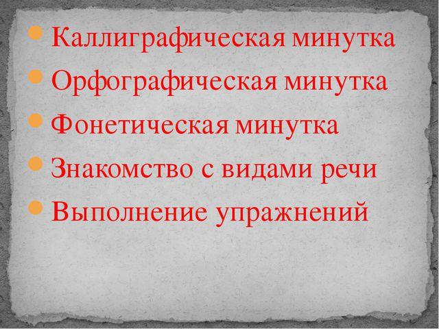 Каллиграфическая минутка Орфографическая минутка Фонетическая минутка Знакомс...