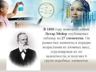 В 1869 году немецкий химик Лотар Мейер опубликовал таблицу из 27 элементов. О