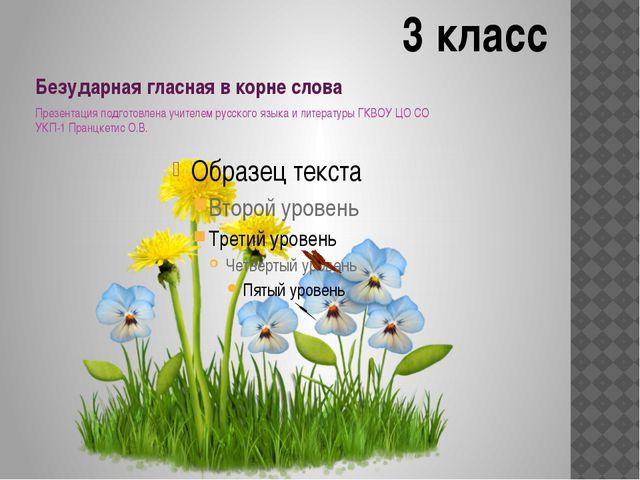 Безударная гласная в корне слова Презентация подготовлена учителем русского я...