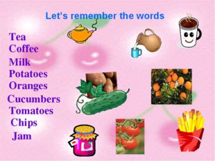 Let's remember the words Tea Coffee Milk Potatoes Oranges Cucumbers Tomatoes
