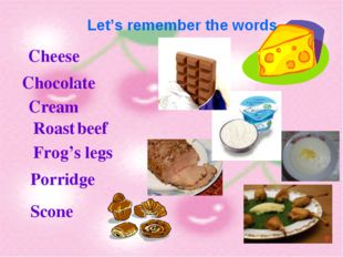 Let's remember the words Cheese Chocolate Cream Roast beef Frog's legs Porri