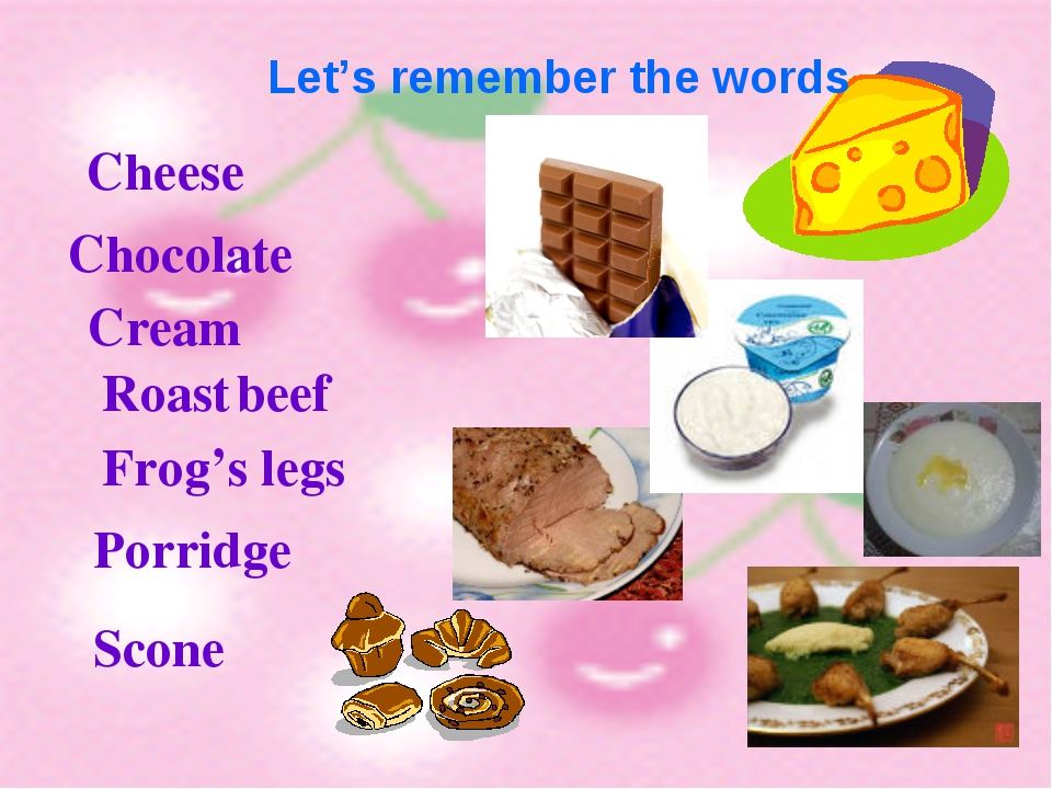 Let's remember the words Cheese Chocolate Cream Roast beef Frog's legs Porri...