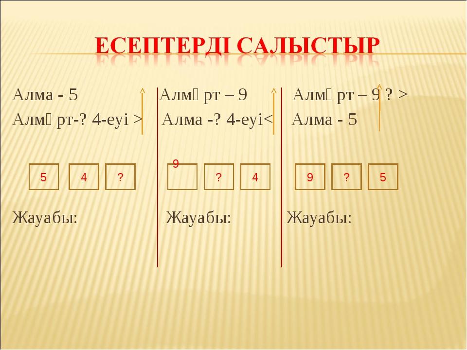 Алма - 5 Алмұрт – 9 Алмұрт – 9 ? > Алмұрт-? 4-еуі > Алма -? 4-еуі< Алма - 5 Ж...