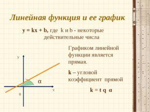 Линейная функция и ее график y = kx + b, где k и b - некоторые действительные