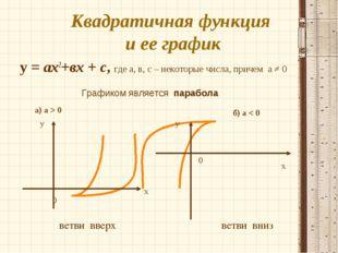 Квадратичная функция и ее график у = ах2+вх + с, где а, в, с – некоторые числ