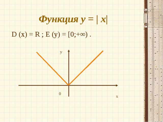 Функция y = | x| D (х) = R ; E (y) = [0;+∞) . x y 0