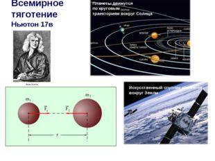 Всемирное тяготение Ньютон 17в Планеты движутся по круговым траекториям вокру