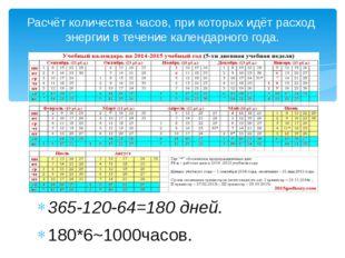 365-120-64=180 дней. 180*6~1000часов. Расчёт количества часов, при которых и