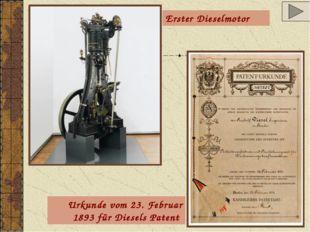 Erster Dieselmotor Urkunde vom 23. Februar 1893 für Diesels Patent