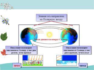 Земная ось направлена на Полярную звезду Земля движется вокруг Солнца Пока на