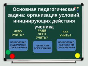 Основная педагогическая задача: организация условий, инициирующих действия уч