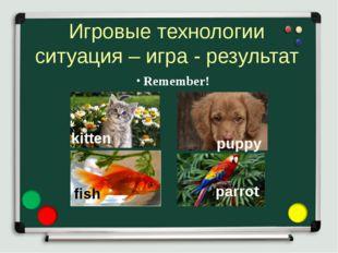 Игровые технологии ситуация – игра - результат Remember! kitten puppy fish pa