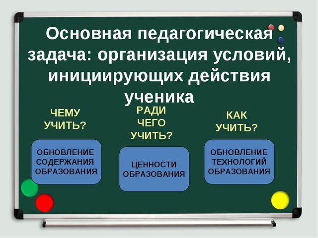 Основная педагогическая задача: организация условий, инициирующих действия уч...