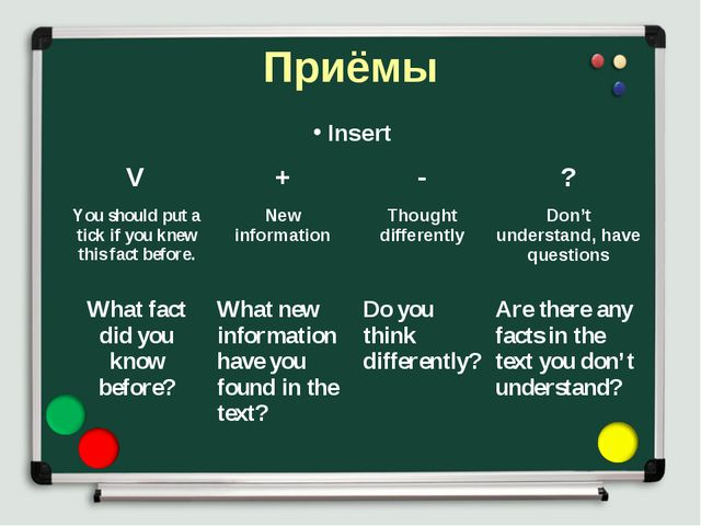 Приёмы Insert V	+	-	? You should put a tick if you knew this fact before.	New...