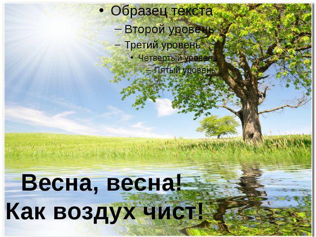 Весна, весна! Как воздух чист!