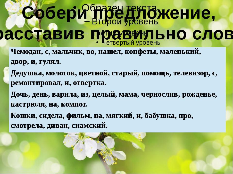 Собери предложение, расставив правильно слова Чемодан, с, мальчик, во, нашел...