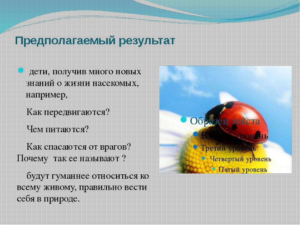 Предполагаемый результат дети, получив много новых знанийо жизни насекомых,...