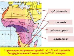 экваторлық субэкваторлық тропиктік субтропиктік Қорытынды:Африка материгінің