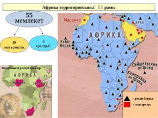 Федеративті республикалар 55 мемлекет 49 материктік 6 аралдық Африка территор