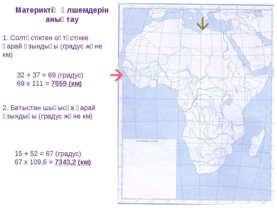 Материктің өлшемдерін анықтау 1. Солтүстіктен оңтүстікке қарай ұзындығы (град...