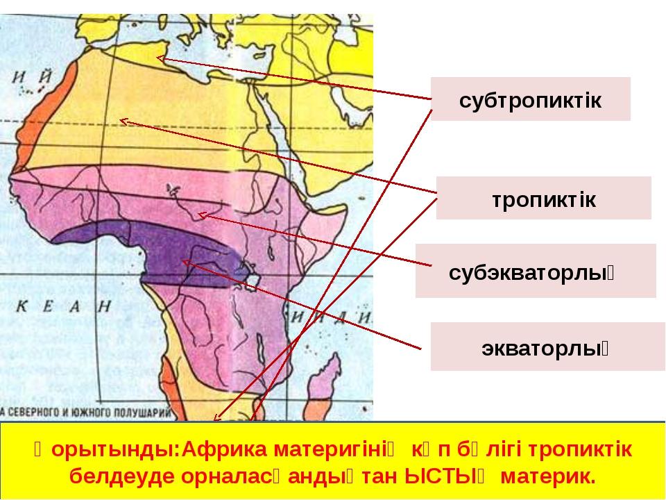 экваторлық субэкваторлық тропиктік субтропиктік Қорытынды:Африка материгінің...