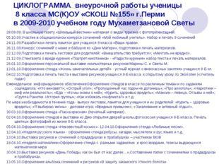 ЦИКЛОГРАММА внеурочной работы ученицы 8 класса МС(К)ОУ «СКОШ №155» г.Перми в