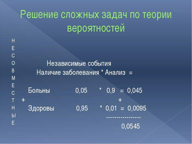 Решение сложных задач по теории вероятностей Н Е С О В М Е С Т Н Ы Е Независи...