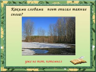 Какими словами поэт описал таяние снега? уже не тот, потемнел