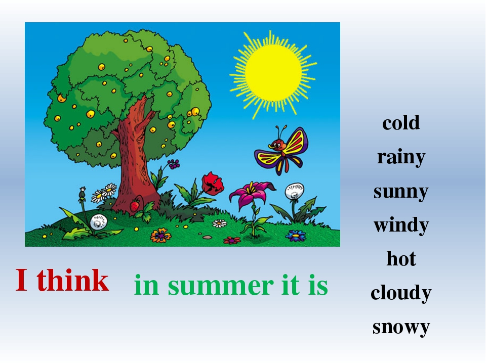 in summer it is I think cold rainy sunny windy hot cloudy snowy