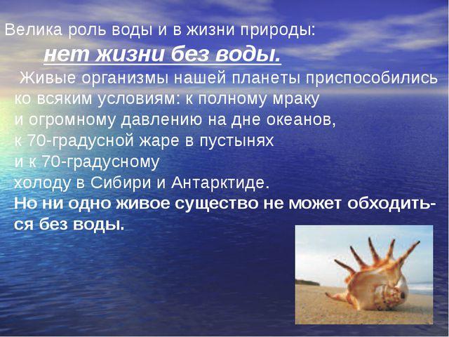 Велика роль воды и в жизни природы: нет жизни без воды. Живые организмы нашей...