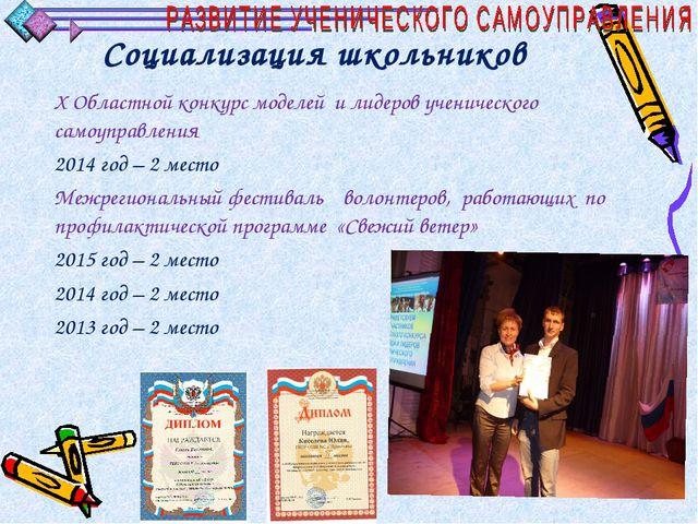 Социализация школьников X Областной конкурс моделей и лидеров ученического са...