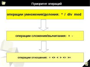 Приоритет операций операции умножения/деления: * / div mod операции сложения/