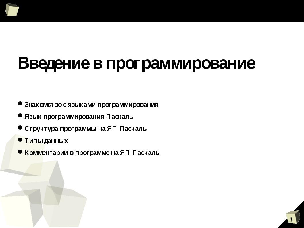 Введение в программирование Знакомство с языками программирования Язык прогр...