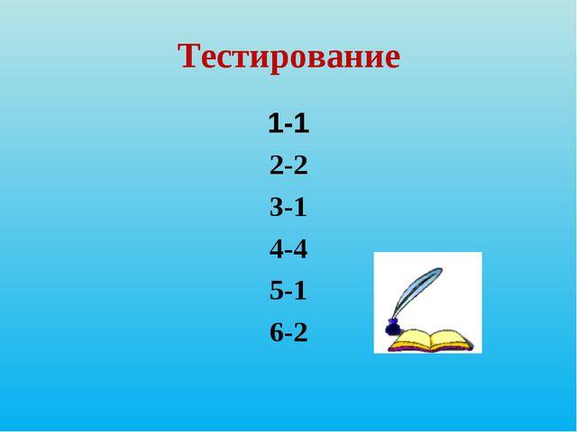 Тестирование 1-1 2-2 3-1 4-4 5-1 6-2