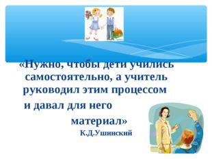 «Нужно, чтобы дети учились самостоятельно, а учитель руководил этим процессом