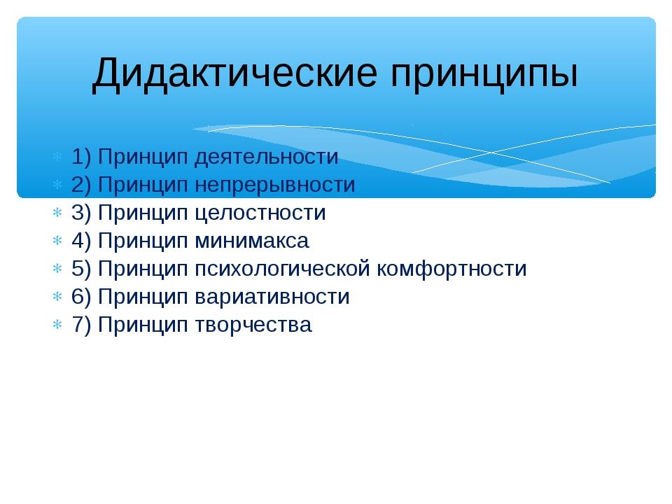 1) Принцип деятельности 2) Принцип непрерывности 3) Принцип целостности 4) Пр...