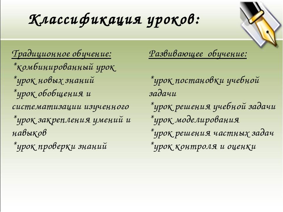 Классификация уроков: Традиционное обучение: *комбинированный урок *урок новы...