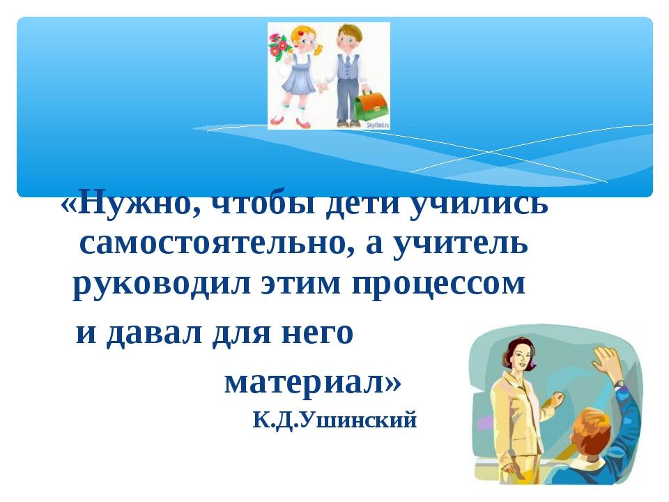 «Нужно, чтобы дети учились самостоятельно, а учитель руководил этим процессом...