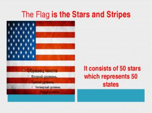 The Flag is the Stars and Stripes It consists of 50 stars which represents 50