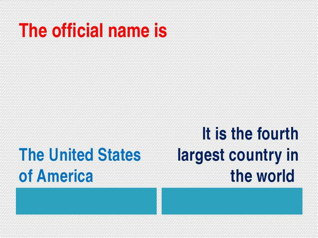 The official name is The United States of America It is the fourth largest co...