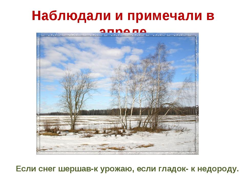 Наблюдали и примечали в апреле Если снег шершав-к урожаю, если гладок- к недо...