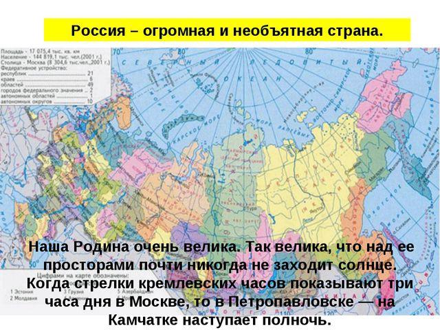 Россия – огромная и необъятная страна. Наша Родина очень велика. Так велика,...