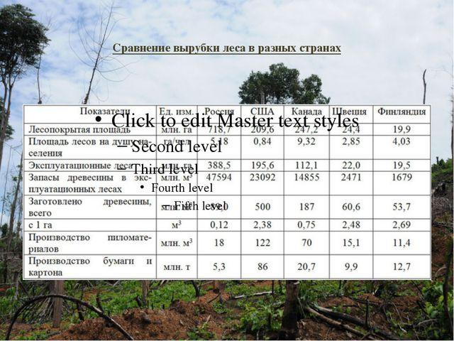 Сравнение вырубки леса в разных странах